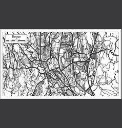 Bogor indonesia city map in black and white color vector