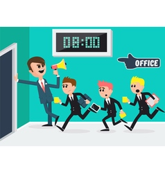 Boss with Megaphone Workers Running to Office vector