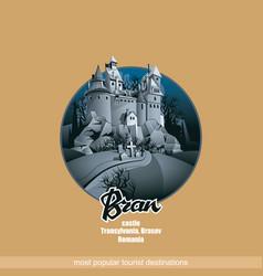 Bran castle in mountains transylvania vector