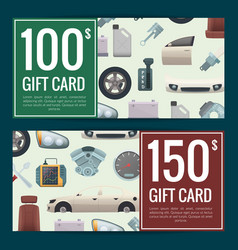 Car parts discount or gift voucher vector