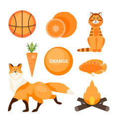 card with orange objects vector image