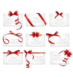 Card with Red Ribbon and Bow Set vector image