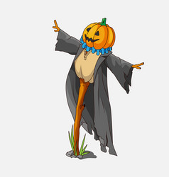cartoon style scarecrow isolated vector image