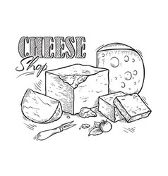 Cheese hand drawn sketch engraving vector