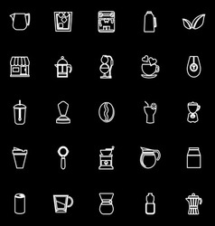 Coffee and tea line icons on black background vector image