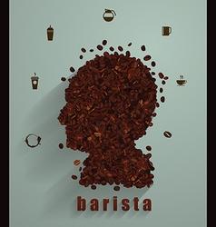 Coffee head concept as a symbol for a barista vector image