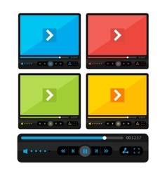 Colorful video player skin set vector