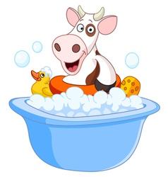 Cow taking a bath vector