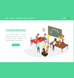 coworking landing page template business people vector image
