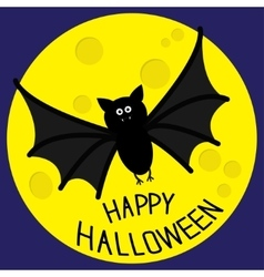 Cute bat and big moon happy halloween card flat vector