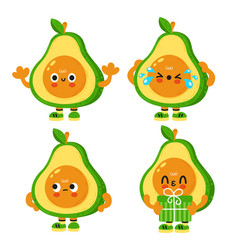 Cute funny avocado with baface cartoon vector