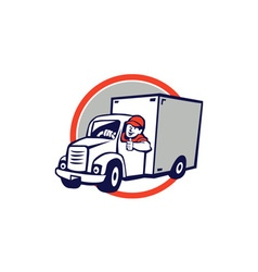 Delivery Van Driver Thumbs Up Circle Cartoon vector