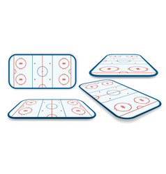Detailed set of a icehockey rink field court with vector