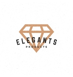 Diamond logo hand drawn vintage design element vector