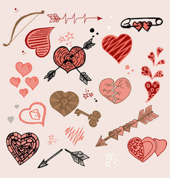 doodle romantic set collection of hearts vector image