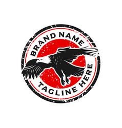 eagle stamp logo design template vector image