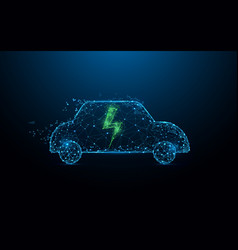 electric car icon form lines and particle vector image