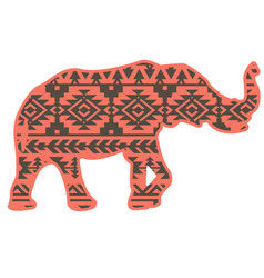elephant aztec silhouette color style pattern vector image