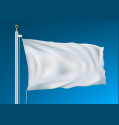 Empty white clear flag waving in clean blue sky vector