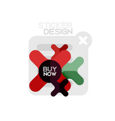 Flat design cross shape geometric sticker icon vector