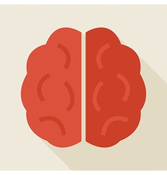 Flat Knowledge Human Brain with long Shadow vector