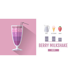 Flat style cocktail milkshake menu design vector