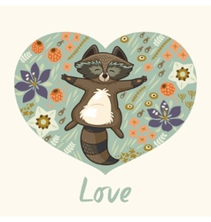 Floral heart with raccoon vector