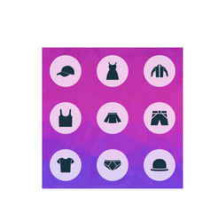 garment icons set collection of singlet panama vector image