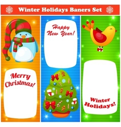Greeting Christmas and New Year baners set vector image