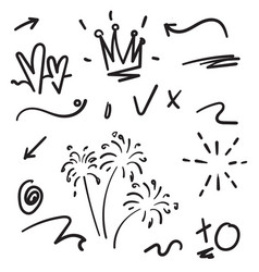 hand drawn collection design element doodle vector image
