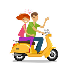 Happy couple riding moped or scooter travel vector