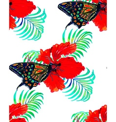Hibiscus and butterfly vector