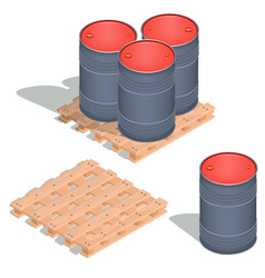 Isometric icons of barrels of oil on a vector