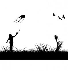 Kids flying kite vector