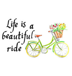 Life is a beautiful ride light green bicycle vector