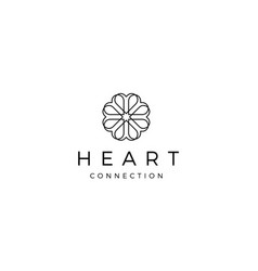 love heart floral connection logo design concept vector image