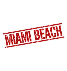 Miami beach red square stamp vector