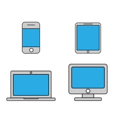 Mobile phone tablet laptop and desktop computer vector