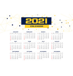 Modern style 2021 new year calendar design vector