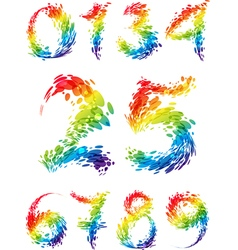 Numbers multicolored set splash vector image
