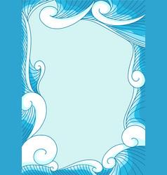 Ocean wave in modern oriental style frame vector