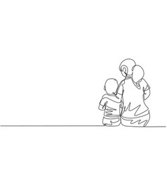 One continuous line drawing young mother talking vector