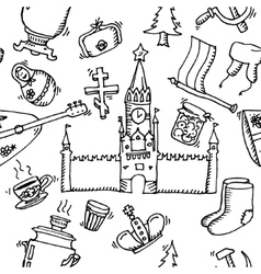 Pattern of Russia hand-drawn icons vector