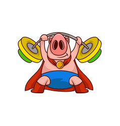 pig superhero holding barbell above his head farm vector image