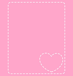 Pink frame with white stitches heart vector