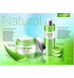 Realistic aloe vera cosmetics products bottle vector
