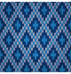 Seamless Blue Knitted Pattern vector image
