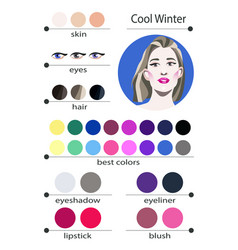 Seasonal color analysis palette for cool winter vector