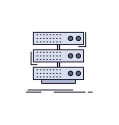 Server storage rack database data flat color icon vector