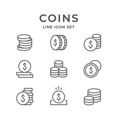 set line icons of coins vector image